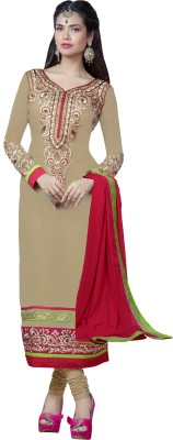 Mina Mina Bazaar Georgette Self Design Dress\/Top Material (Beige\/Sand\/Tan)
