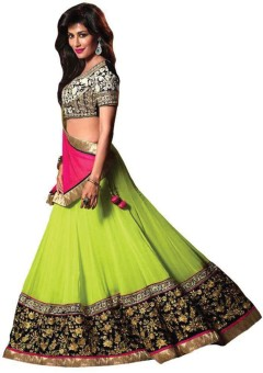 Cozer Georgette Embroidered Semi-stitched Lehenga Choli Material