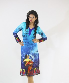 Sultan Enterprise Cotton Polyester Blend Graphic Print, Printed, Self Design Kurti Fabric Un-stitched