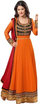 SareeShop Georgette Embroidered, Striped Semi-stitched Salwar Suit Dupatta Material Unstitched