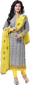 Gopika Creation Chanderi, Chiffon Embroidered Suit Fabric