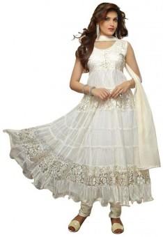 Harikrishna Net Floral Print Semi-stitched Salwar Suit Dupatta Material Unstitched