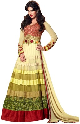 Resham Fabrics Net Embroidered, Solid Semi stitched Salwar Suit Dupatta Material available at Flipkart for Rs.4899