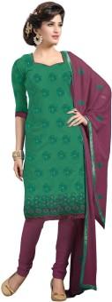 Slassy Cotton, Chiffon Self Design Salwar Suit Dupatta Material Unstitched