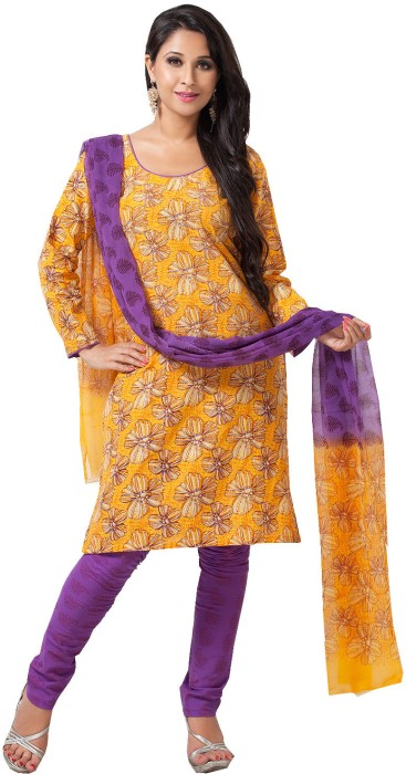 Aapno Rajasthan Cotton Floral Print Salwar Suit Dupatta Material Fabric - Unstitched