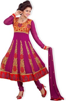 Atisundar Georgette, Crepe, Chiffon Self Design Semi-stitched Salwar Suit Dupatta Material (Unstitched)