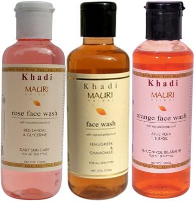 Khadi Mauri Ayurvedic Herbal Face Wash Combo Pack Of 3 Rose Orange & Fenugreek (Methi) Natural & Organic 210 Ml Each Face Wash (630 Ml)