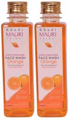 KHADI MAURI Orange Face Wash - Pack Of 2 - Premium Herbal Face Wash (500 Ml)
