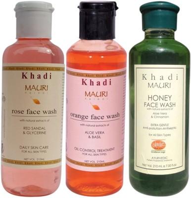 Khadi Mauri Ayurvedic Herbal Face Wash Combo Pack Of 3 Rose, Orange & Honey Natural & Organic 210 Ml Each Face Wash (630 Ml)