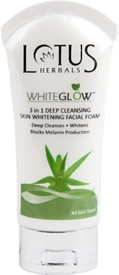 Lotus Herbals White Glow 3 In 1 Deep Cleansing Skin Whitening Facial Foam Face Wash 50 g