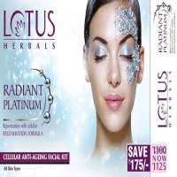 Lotus Radiant Platinum Cellular Anti-Ageing Facial Kit 148 G (Set Of 4)