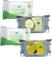 Ginni Combo Of 2 Shampoo Towel (10 Towels Per Pack), Facial Wipes (Cucumber,Lemon) (30 Wipes Per Pack) (Pack Of 4)