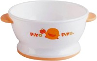 Piyo Piyo Slip Proof Training Bowl  - Plastic Material (White, Orange)