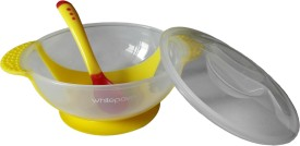 Whitepavo Baby Feeding Bowl With Suction Base And Temperature Sensitive Spoon - Yellow Color  - Polypropylene, Silicone