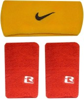 R-Lon Wrist And Head Combination Fitness Band (Yellow, Red, Pack Of 3)