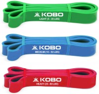 Kobo Power With Loop (Set Of 3) Aerobic Cardio & Exercise Resistance Band (Green, Blue, Red)