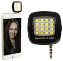 Burfa Portable Mini 16 LED Selfie Flash Light For All Smartphones, Apple Phones - Black Flash (Black)