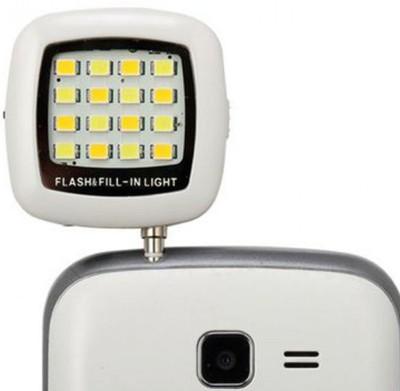 Burfa Portable Mini 16 LED Selfie Flash Light For All Smartphones, Apple Phones White