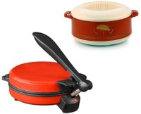 ECO SHOPEE COMBO OF EAGLE RED DETACHABLE ROTI MAKER WITH CASSEROLE Roti/Khakhra Maker (Red)