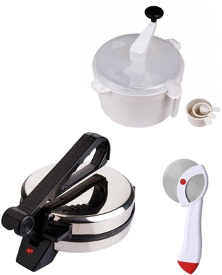 ECO SHOPEE COMBO OF ROTI MAKER, DOUGH MAKER AND PIZZA CUTTER Roti/Khakhra Maker (Silver)