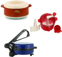 ECO SHOPEE COMBO OF EAGLE BLUE ROTI MAKER, CASSEROLE AND DOUGH MAKER Roti/Khakhra Maker (Blue)