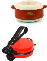 ECO SHOPEE COMBO OF NATIONAL RED Roti-MAKER WITH CASSEROLE Roti/Khakhra Maker (Red)