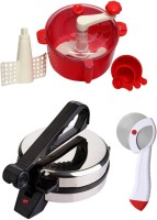 ECO SHOPEE COMBO OF NATIONAL Roti- MAKER AND PIZZA CUTTER, RED Dough Maker (Silver)