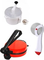 ECO SHOPEE COMBO OF EAGLE RED ROTI MAKER, DOUGH MAKER AND PIZZA CUTTER Roti/Khakhra Maker (Red)