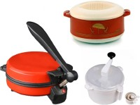 ECO SHOPEE COMBO OF NATIONAL RED DETACHABLE Roti- MAKER, CASSEROLE AND DOUGH MAKER Roti/Khakhra Maker (Red)