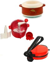 ECO SHOPEE COMBO OF RED ROTI MAKER, CASSEROLE AND RED DOUGH MAKER Roti/Khakhra Maker (Red)