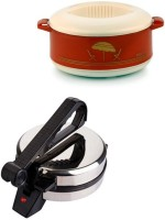 ECO SHOPEE COMBO OF EAGLE ROTI MAKER WITH CASSEROLE Roti/Khakhra Maker (Silver)