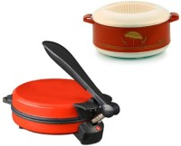 ECO SHOPEE COMBO OF NATIONAL RED DETACHABLE ROTI MAKER WITH CASSEROLE Roti/Khakhra Maker (Red)