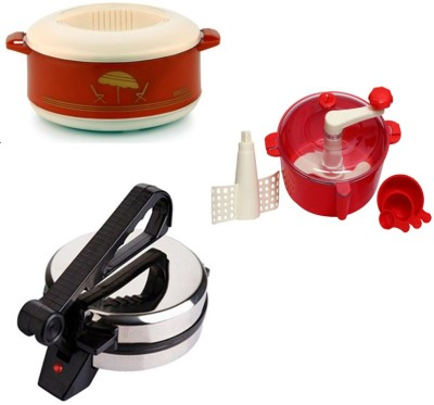 ECO SHOPEE COMBO OF NATIONAL ROTI MAKER, CASSEROLE AND RED DOUGH MAKER Roti/Khakhra Maker (Silver)