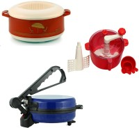 ECO SHOPEE COMBO OF NATIONAL BLUE Roti- MAKER, CASSEROLE AND RED DOUGH MKAER Roti/Khakhra Maker (Blue)