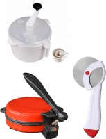 ECO SHOPEE COMBO OF DETACHABLE RED ROTI MAKER, DOUGH MAKER AND PIZZA CUTTER Roti/Khakhra Maker (Red)