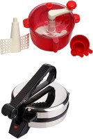 ECO SHOPEE COMBO OF NATIONAL ROTI MAKER WITH RED DOUGH MAKER Roti/Khakhra Maker (Silver)