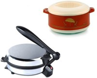 ECO SHOPEE COMBO OF EAGLE DETACHABLE Roti-MAKER WITH CASSEROLE Roti/Khakhra Maker (Silver)