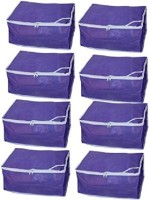 Kuber Industries Designer Non Woven Saree Cover Set Of 8 Pcs /Wardrobe Organiser/Regular Clothes Bag Sc043 Blue