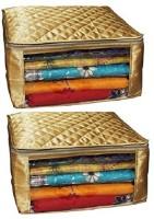 Kuber Industries Designer Saree Cover Set Of 2 Pcs Large Size In Golden Satin Wedding Gift SC075 Golden