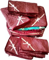 Kuber Industries Designer Maroon 3 Layered Quilted Printed Transparent Multi Saree Cover (10-15 Sarees Capacity) - Set Of 5 Sc049 Maroon