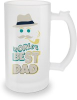 SKY TRENDS World's Best Dad With Smokstick And Cap Unique Gifts For Happy Father's Day Glass Beer Mug (500 Ml, Multicolor, Pack Of 1)