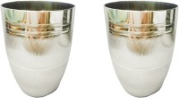 King International Corporate Drinking Glasses/ Gifting Glasses/Round Shape With Silver Touch Set Of 2 Pcs KI-A-SS-GLS2-01 (250 Ml, Steel, Pack Of 2)