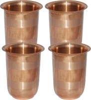Prisha India Craft Handmade Copper Glass Silver Touch For Ayurveda Healing Glass030-4 (249 Ml, Gold, Pack Of 4)