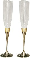 Treta Champagne Crystal Pair (Set Of 2) Glass (50 Ml, Gold, Pack Of 2)