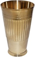 Crafts'man Brass Handmade Water Tumbler For Ayurveda Benefits VIAN-1525 (500 Ml, Gold, Pack Of 1)