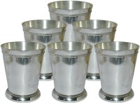Prisha India Craft Designer High Quality Silver Coating Tumbler , Set Of 6 Glass033-6 (300 Ml, Silver, Pack Of 6)