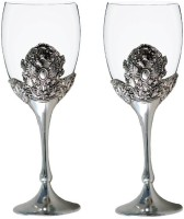 Craftghar Elegant Silver & Glass 2-Piece Wine Goblet Set Silver Glass (240 Ml, Silver, Clear, Pack Of 2)