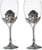 Craftghar Elegant Silver & Glass 2-Piece Wine Goblet Set Silver Glass (240 Ml, Silver, Clear, Pack Of 2)