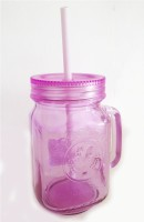 Its Our Studio Colored Mason Jars With Straw & Plastic Lid (400 Ml, Purple, Pack Of 1)