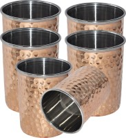 Prisha India Craft Tumbler - Handmade Water - Cups For Ayurveda Benefits - Set Of 6 Tumbler105-6 (240 Ml, Gold, Pack Of 6)